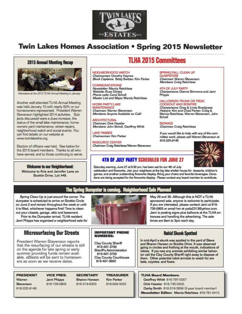 TLHA 2015  Spring Newsletter Final